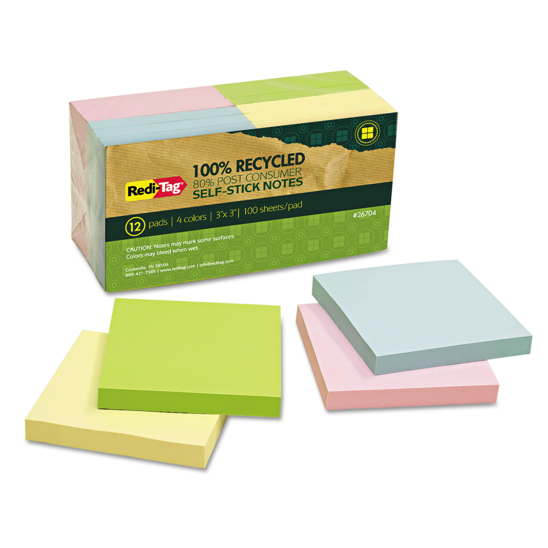 Redi-Tag 100% Recycled Notes, 3 x 3, Four Colors, 12 100-Sheet Pads/Pack -RTG26704