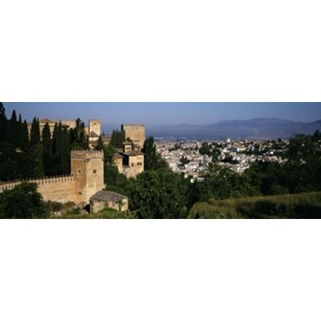 High angle view of palace with a city in the background Alhambra Granada Andalusia Spain Poster Print](Alhambra Party City)
