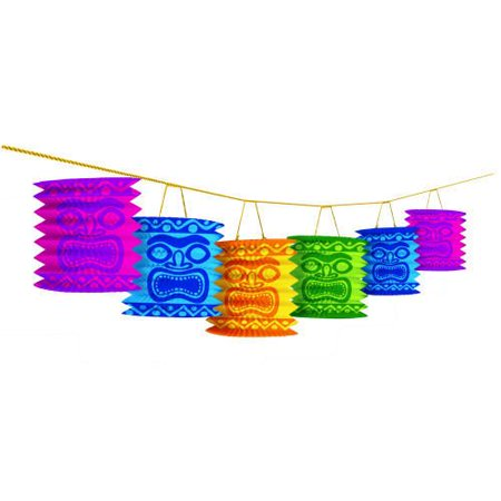 Amscan Hawaiian Summer Luau Beach Tiki Island Lantern Garland Decoration (1 Piece), Multi Color, 7 x 10.3