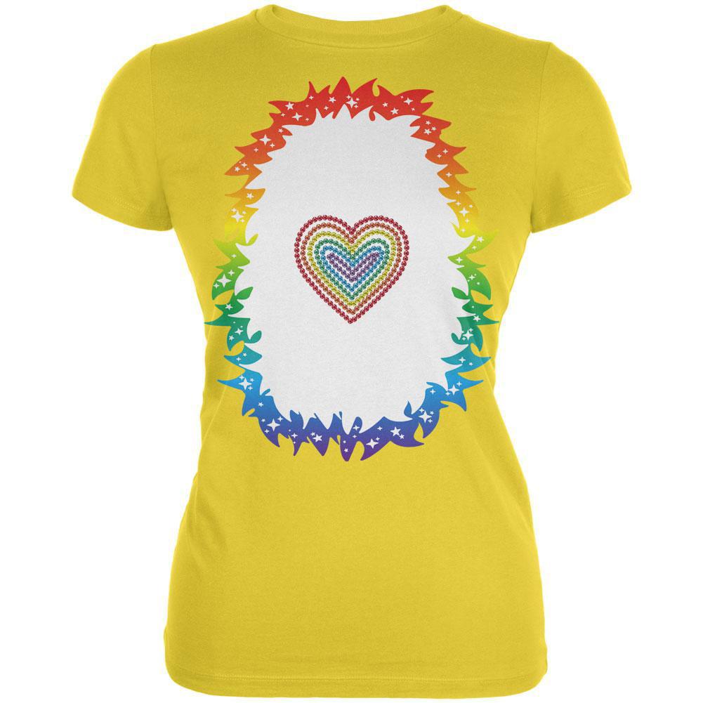 Halloween Rainbow Heart Unicorn Costume Pony Juniors Soft T Shirt
