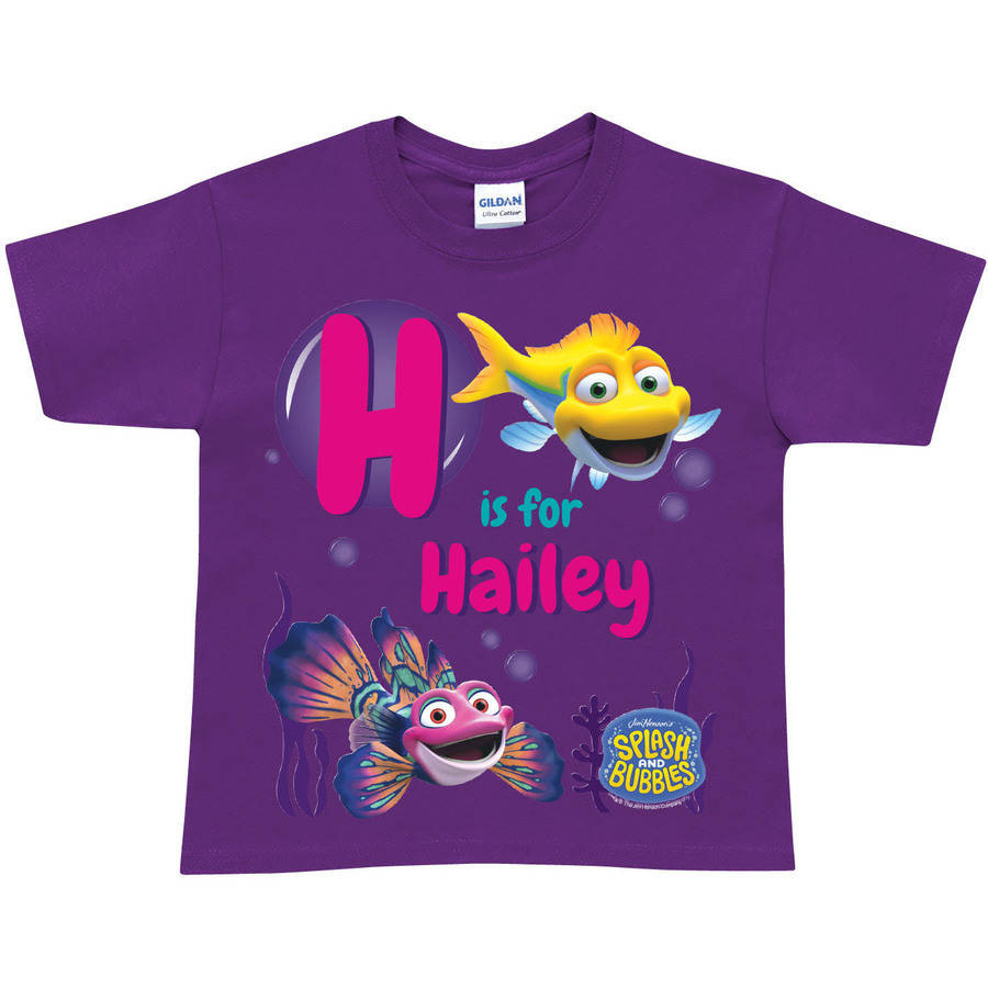 Personalized Splash and Bubbles Initial Purple Toddler Girl T-Shirt