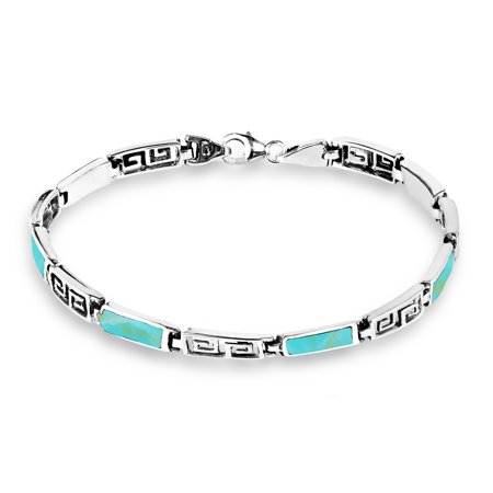 Greek Key Labyrinth Simulated Turquoise Inlay .925 Sterling Silver Link Bracelet
