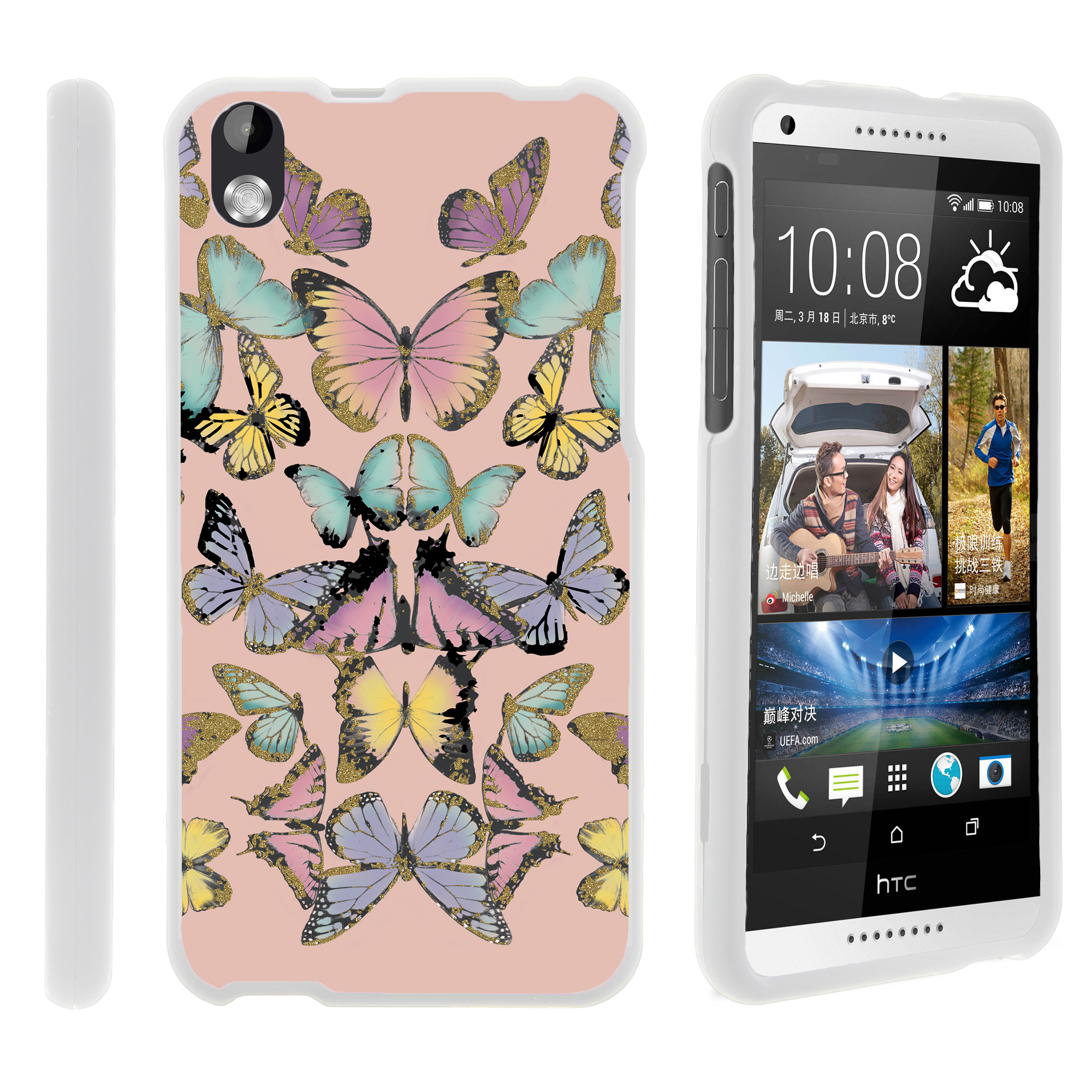 HTC Desire 816, [SNAP SHELL][White] Hard White Plastic Case with Non Slip Matte Coating with Custom Designs - Butterfly Symmetry