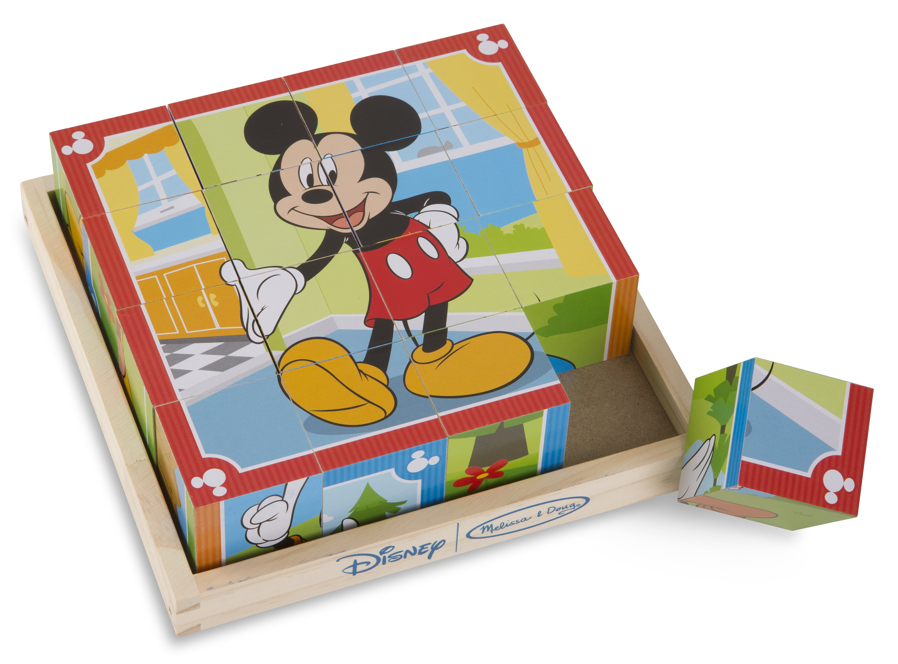Melissa & Doug Disney Mickey Mouse Cube Puzzle With Storage Tray 6 Puzzles in 1 (16 pcs) by Melissa & Doug