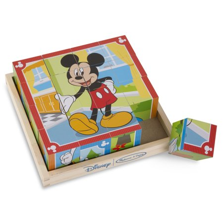 Melissa & Doug Disney Mickey Mouse Cube Puzzle With Storage Tray - 6 Puzzles in 1 (16 pcs) Disney Mickey Mouse Jigsaw Puzzles
