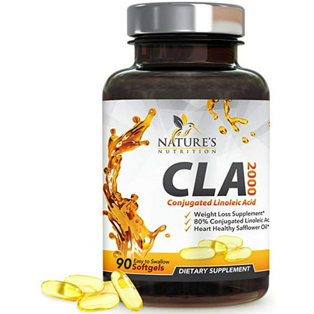 Nature's Nutrition CLA Safflower Oil Pills, 2000mg , 90