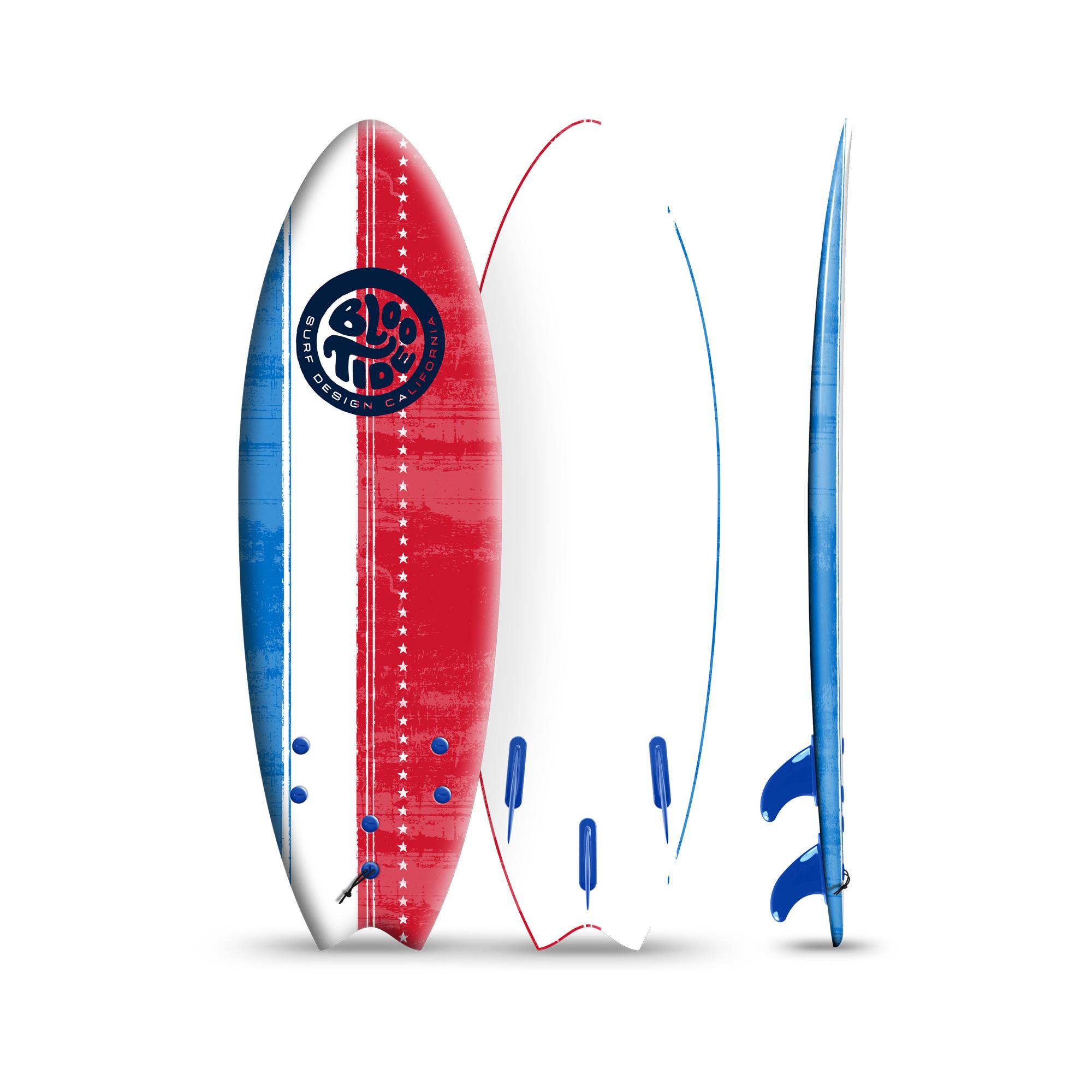 Bloo Tide 6 Foot Soft Top Sufboard + Fins & Leash