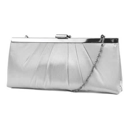 blaire satin framed clutch evening bag, ivory, one