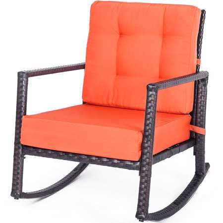 Outdoor Patio Furniture Clearance, URHOMEPRO Patio Rattan Wicker Rocking Chair with Thick, Washable Cushions, Outdoor Porch Garden Lawn Deck Wicker Rocker for Patio, Pool, Deck, Living Room, I9707 ()