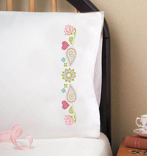 "Design Works Paisley Heart Pillowcases - 2 standard size (20"" x 30"")"