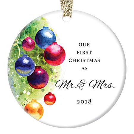 Our First Christmas Ornament (Marriage Ornament 2018, Our First Christmas as Mr & Mrs, Married Man & Women 1st Xmas Wedding Present Colorful Ceramic 3