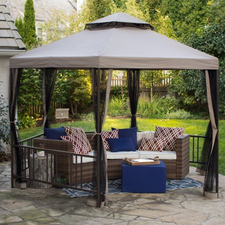 Belham Living Layhill 12 ft. Dia. Hexagon Gazebo with Netting (10 Hexagon Gazebo)