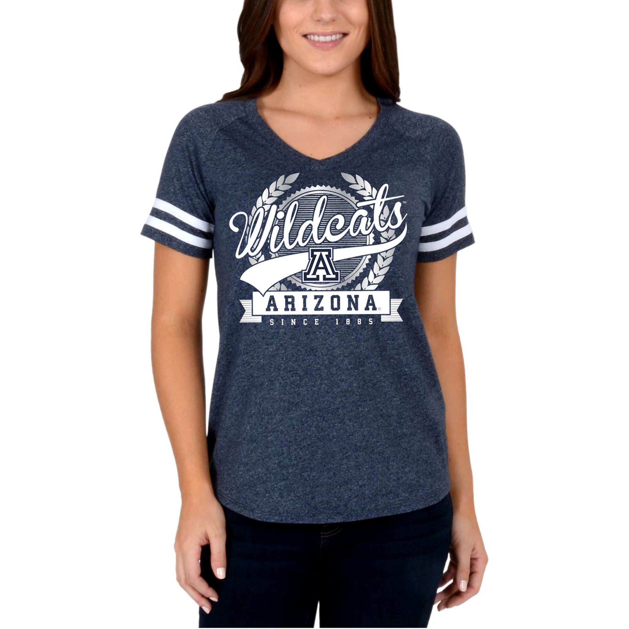 Women's Navy Arizona Wildcats Laurel Script V-Neck T-Shirt