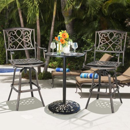 Cast Aluminum Patio Chair Patio BarStool Dining Chair, Bronze ()