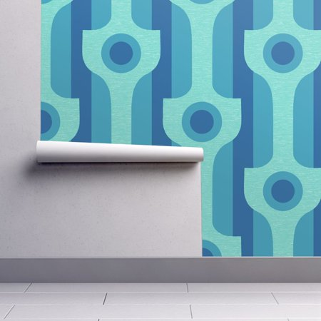 - Peel-and-Stick Removable Wallpaper Mod Modern Modernist 50S 60S Blue