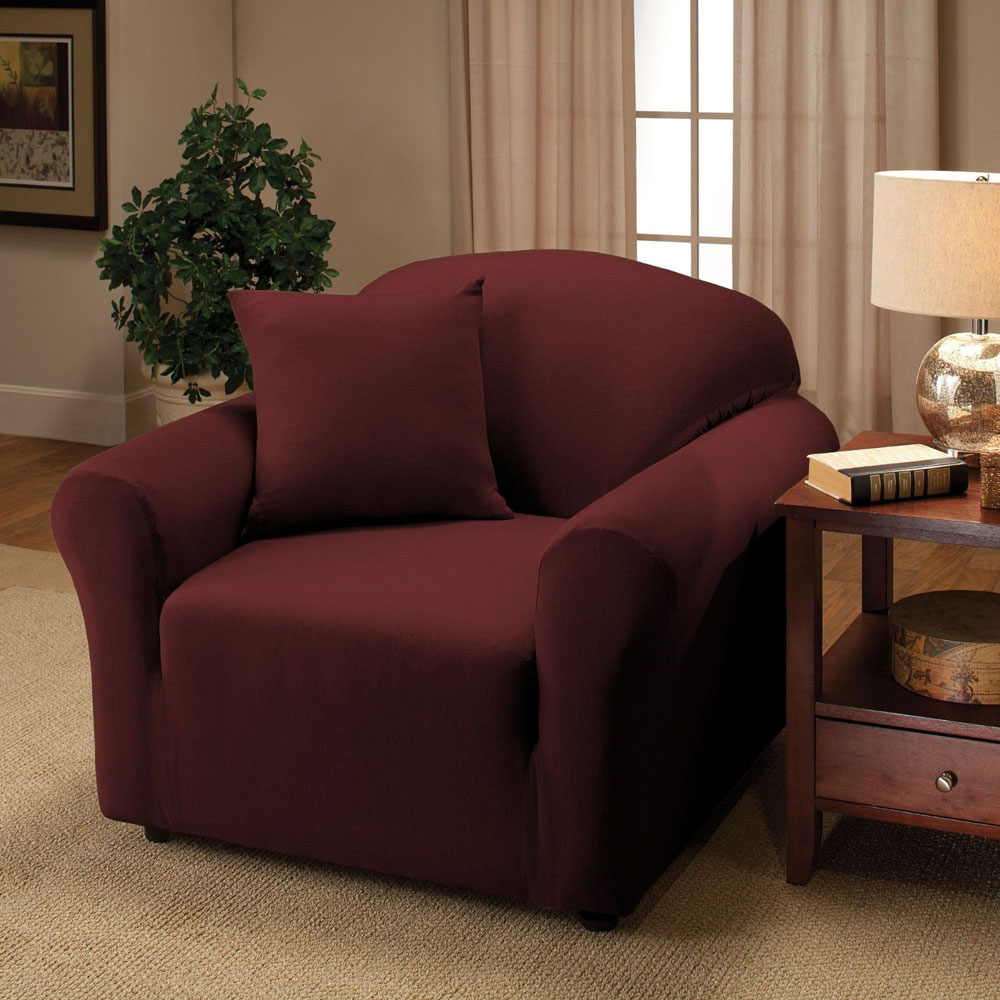 Ktaxon stretch sofa slipcover single seat cover couch covers wine red