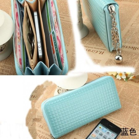 Fashion Women Zip Colorful Clutch Case Lady Wallet For iPhone 6 5S (Beautiful Wallet)