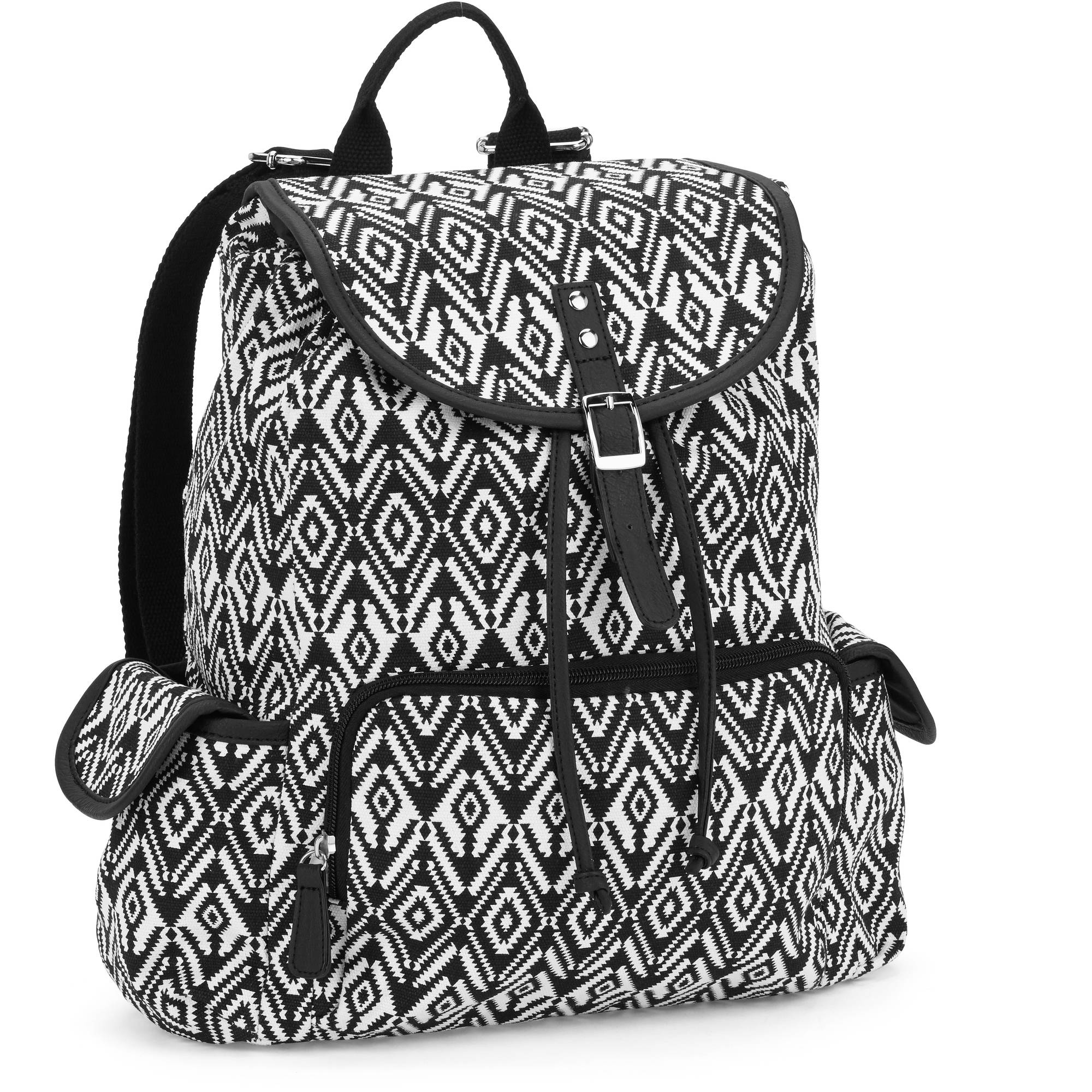 "No Boundaries 18"" Printed Canvas Buckle Flap Zip Pocket Backpack"