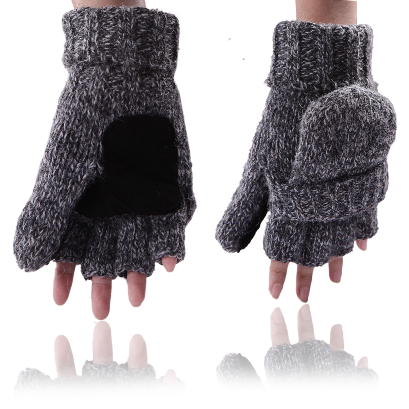HDE Fingerless Winter Gloves Flipover Insulated Thermal Knit Texting Mittens (Gray)