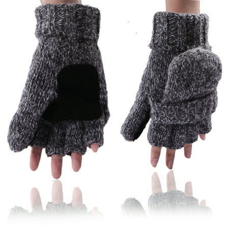Fingerless Winter Gloves Flipover Insulated Thermal Knit Texting Mittens (Gray)