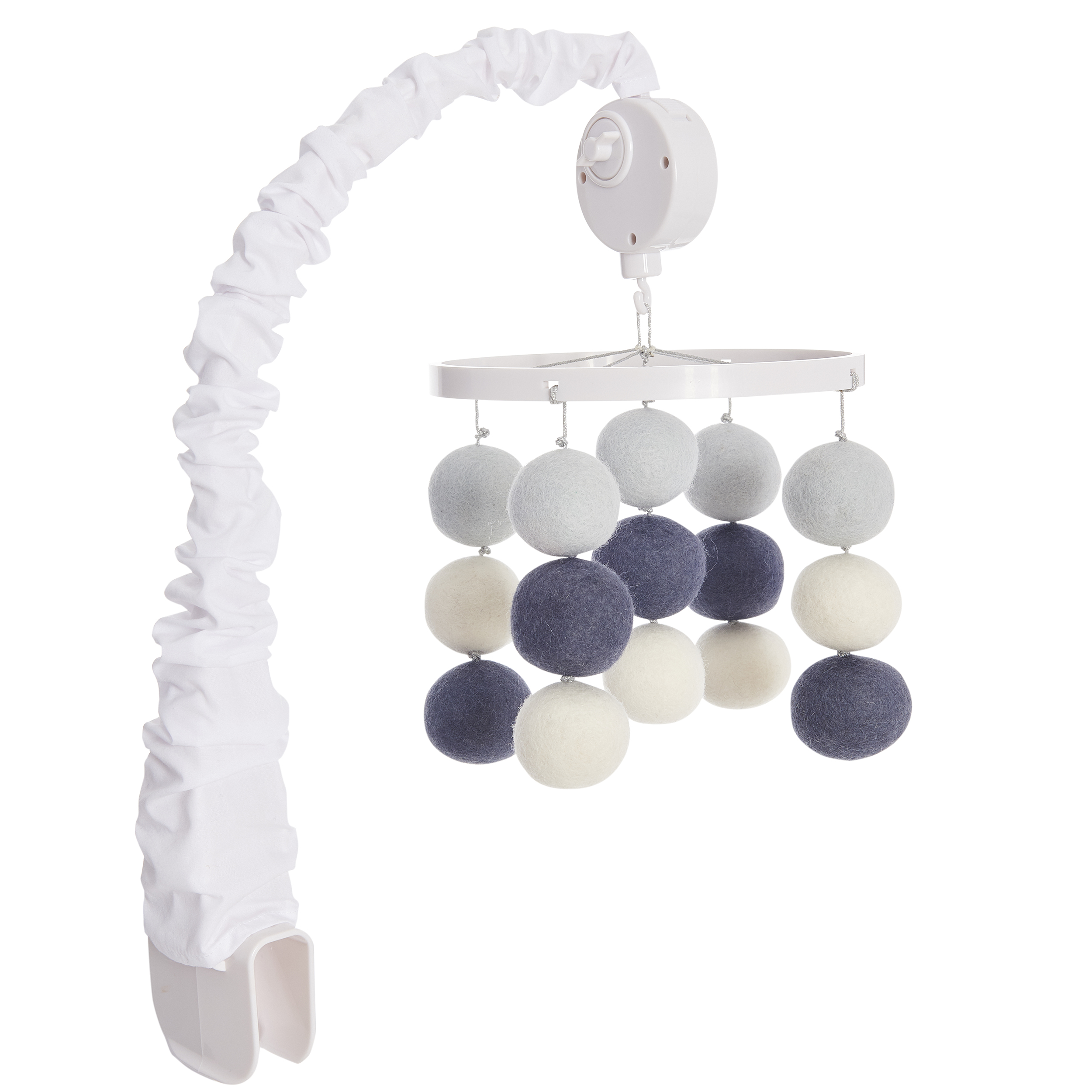 HALO Bassinest Mobile with music Gray and white balls by HALO