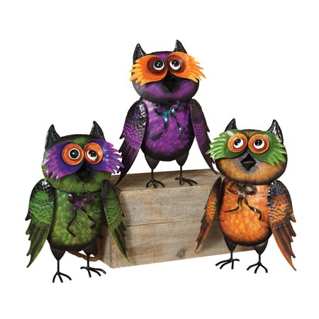 Set Of 3 Metal Halloween Owl Figurine Moving Head On Spring Halloween Decoration - Metal Head Halloween Costume