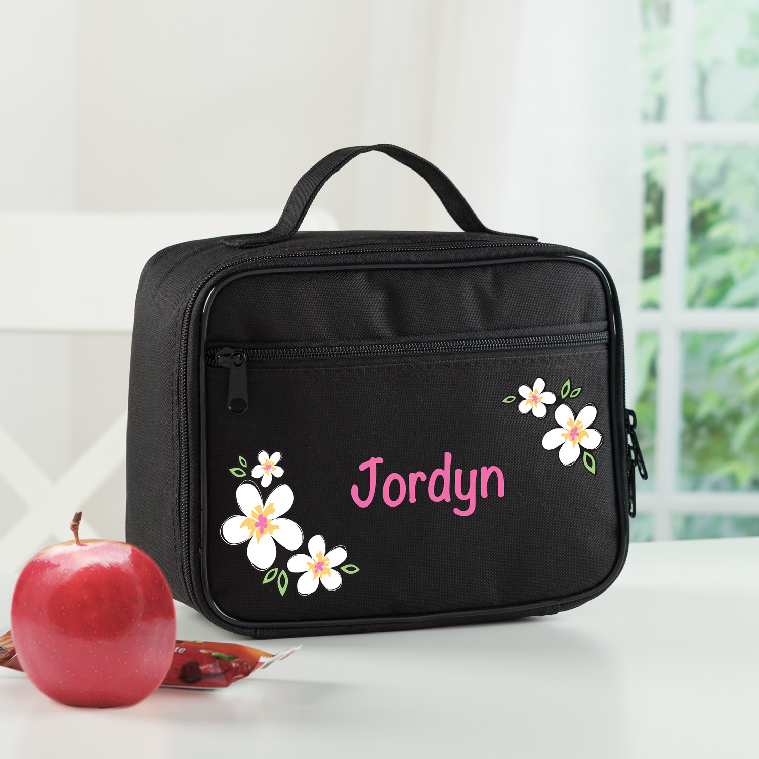 Flamingo Flowers Personalized Lunch Bag