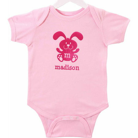 Personalized Baby Girls' Springtime Easter Bodysuit, Pink Bunny