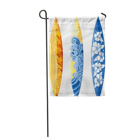 LADDKE Blue Surf Surfboards White Yellow Board Hibiscus Sea Surfer Garden Flag Decorative Flag House Banner 12x18 inch
