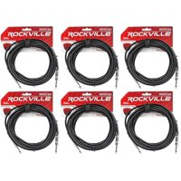 """6 Rockville RCGT20B 20'  1/4"""" TS to 1/4'' TS Guitar/Instrument Cable"""
