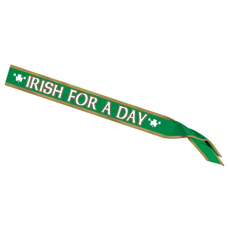 Irish For A Day Satin Sash Adult Halloween Accessory (Irish Resources For Halloween)