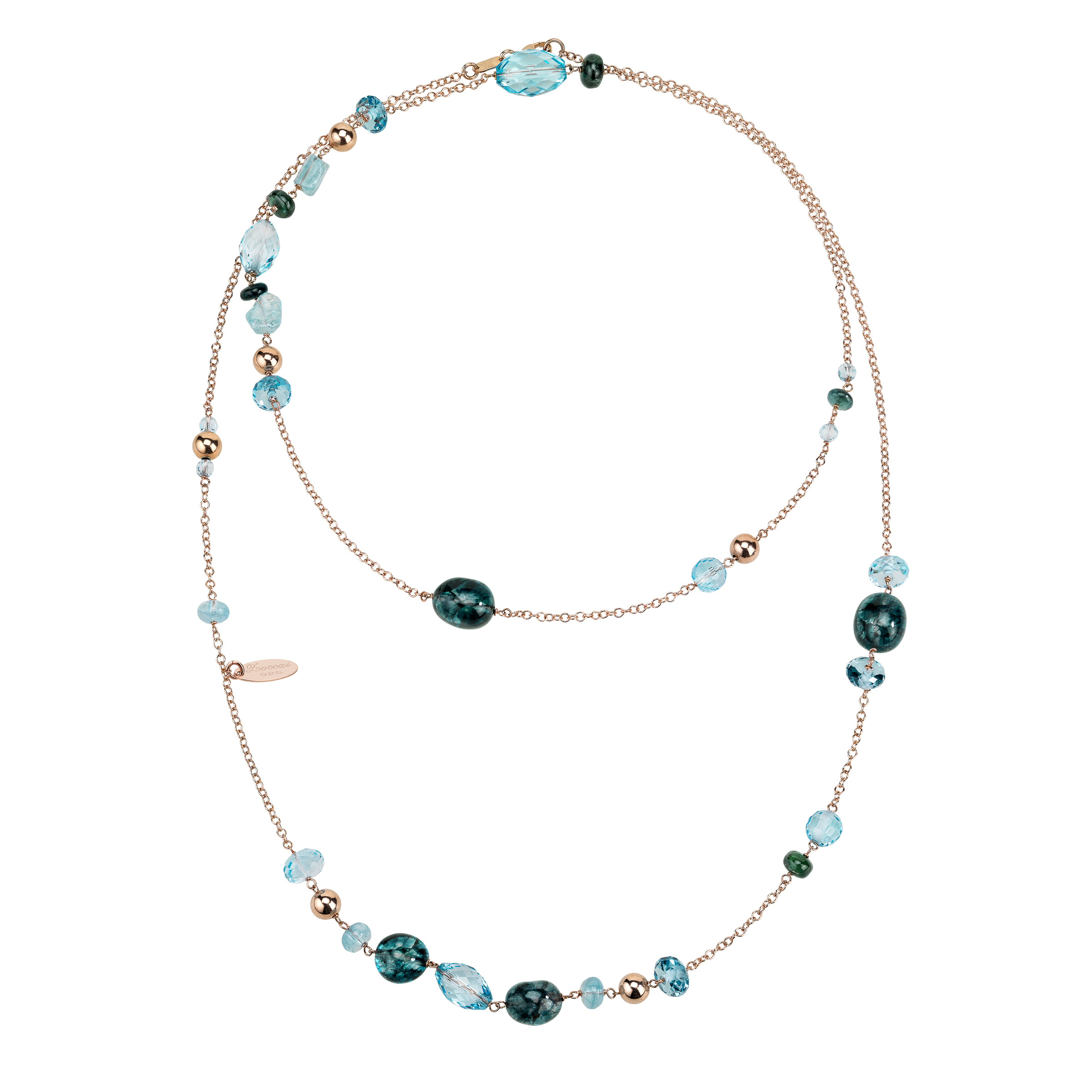 Zoccai 925 Blue Quartz & Blue Topaz Necklace in Rose Gold-Toned Sterling Silver by Richline Group