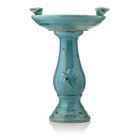 - Alpine Corporation Ceramic Pedestal Birdbath with 2 Bird Figurines