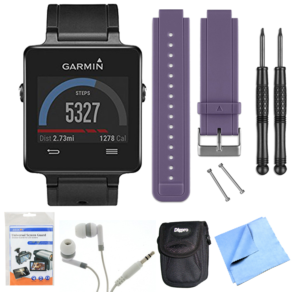 Garmin Vivoactive GPS Smartwatch Black (010-01297-00) Purple Replacement Band Bundle Black Smartwatch, Purple Replacement Band, Screen Protectors, Headphones, Carrying Case Microfiber Cleaning Cloth