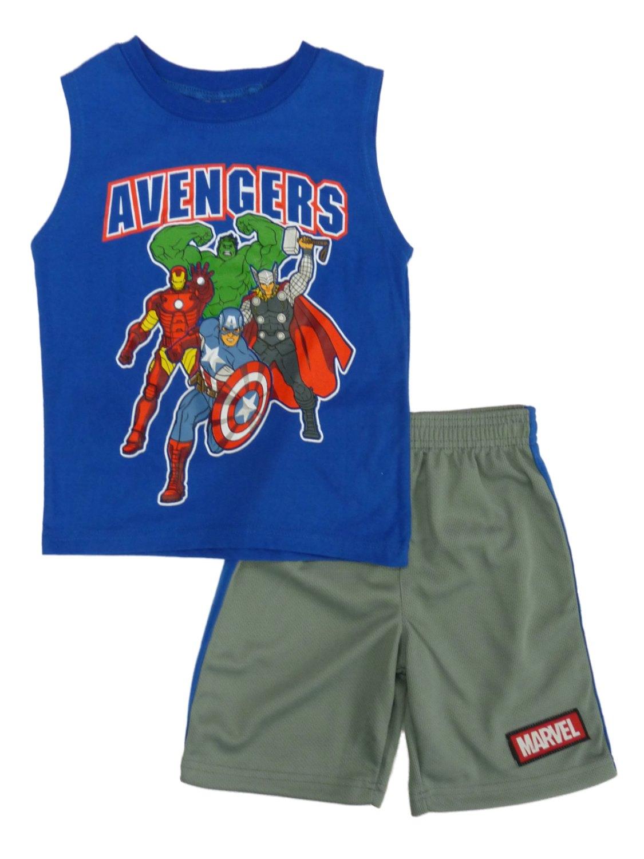 Marvel Comics Boys 2-Piece Blue Avengers Tank Top & Athletic Shorts Set