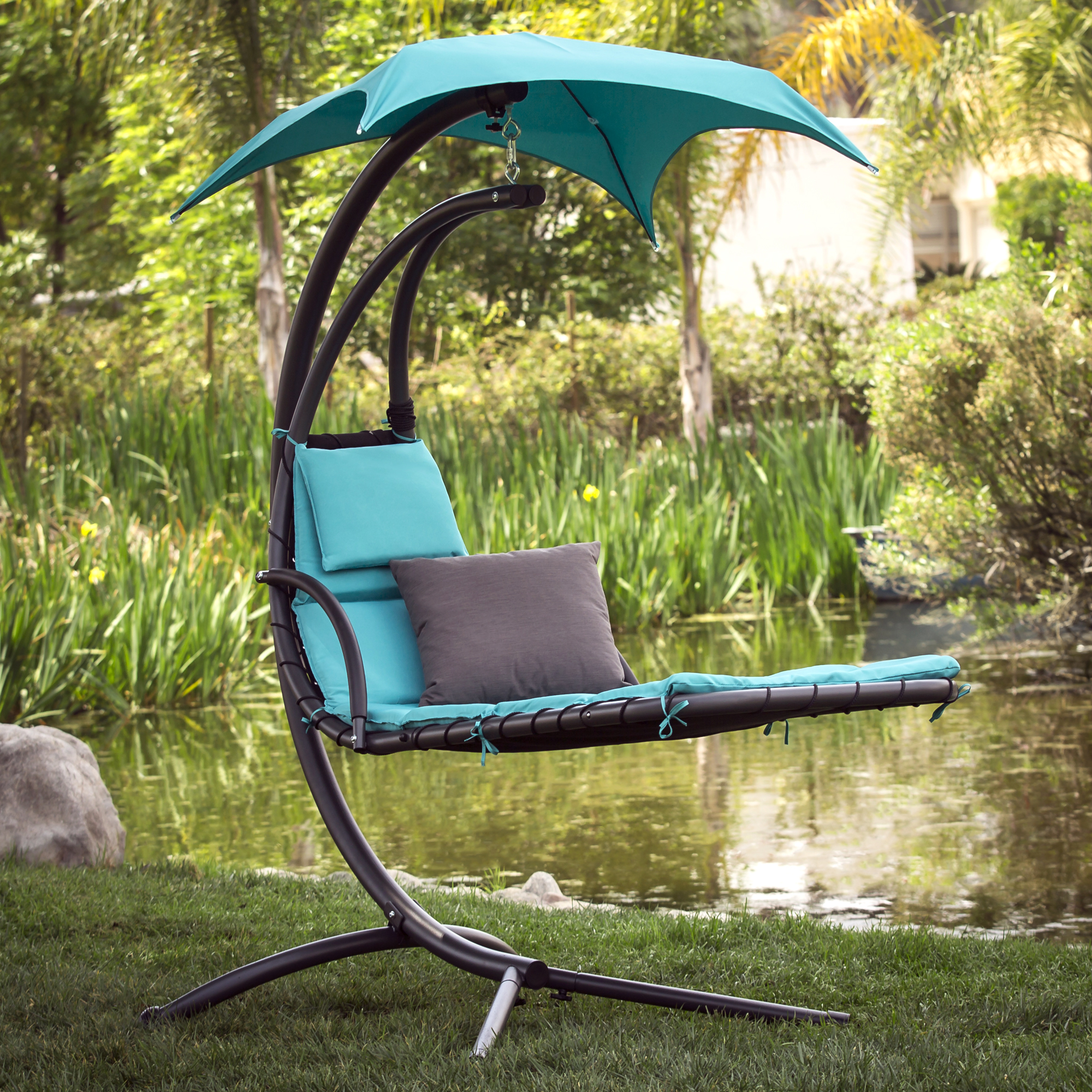 BCP Hanging Chaise Lounger Chair Arc Stand Air Porch Swing Hammock Canopy by Best Choice Products
