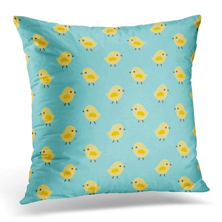 CMFUN Colorful Spring Easter Pattern with Cute Little Chickens in Yellow and Aqua Blue Tags Textiles Green Pillow Case Pillow Cover 18x18 inch