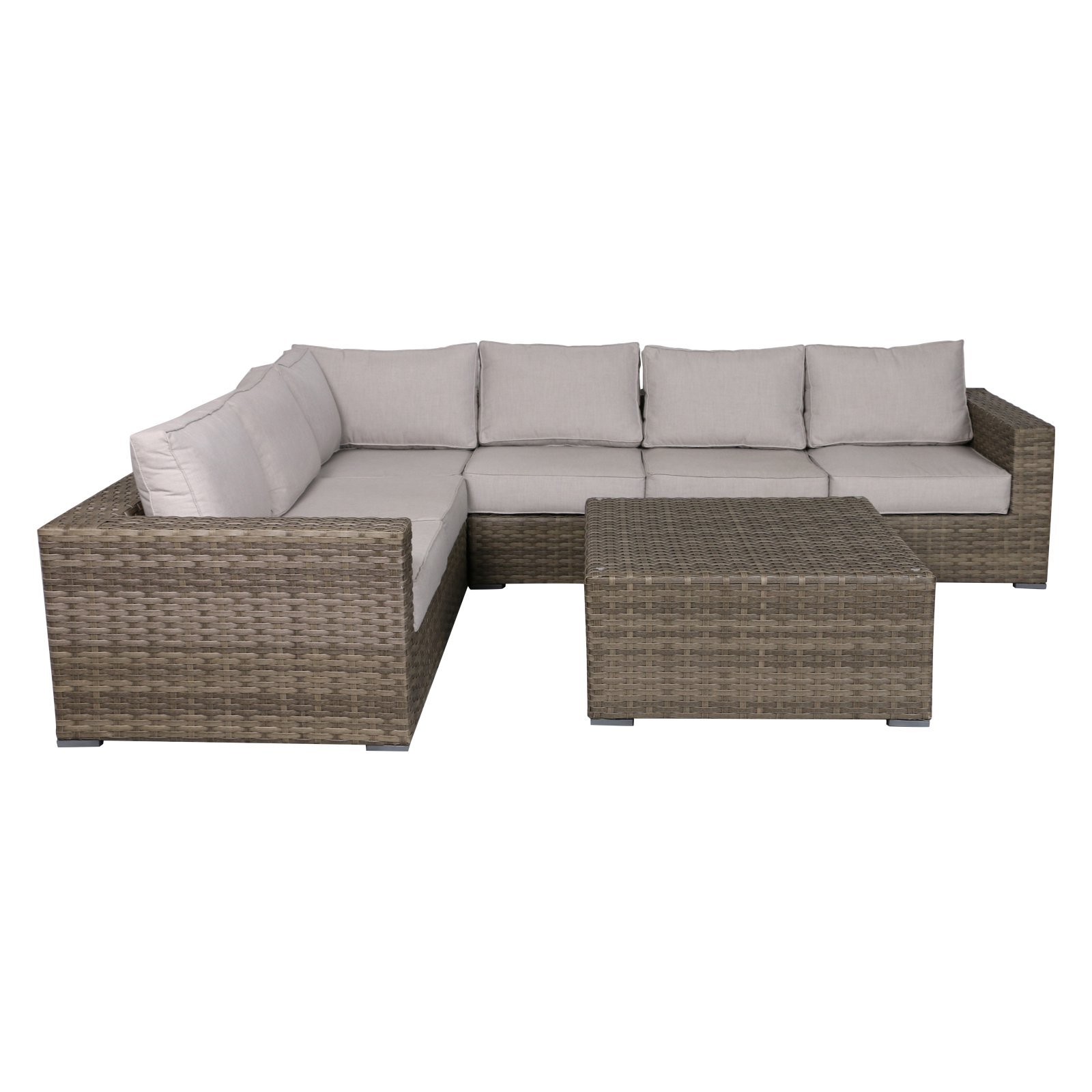 Teva Patio Bali Outdoor Wicker Sectional Sofa With Ottoman