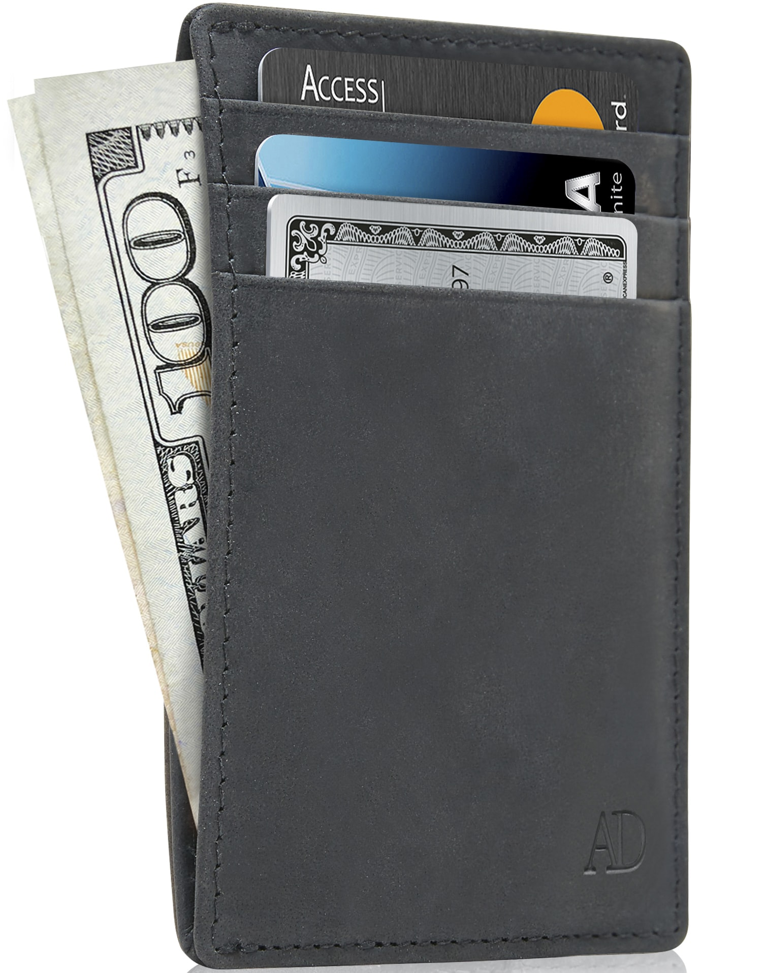 MENS PREMIUM QUALITY LUXURY BLACK SOFT LEATHER CREDIT CARD HOLDER WALLET BOXED