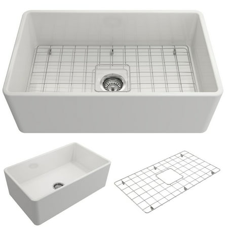 BOCCHI Classico Farmhouse Apron Front Fireclay 30 in. Single Bowl Kitchen Sink with Protective Bottom Grid and Strainer in - Bottom Sink
