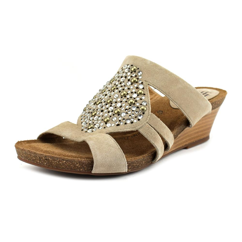 Sofft Vassy Women Open Toe Suede Nude Wedge Sandal by Sofft