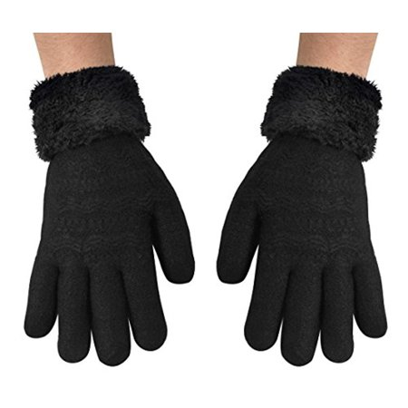 Peach Couture Classic Cable Knit Plush Fleece Lined Double Layer Winter Gloves  One Size  Black 05