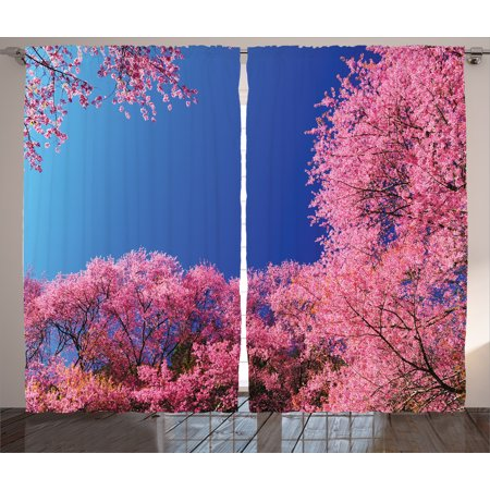 Nature Curtains 2 Panels Set, Cherry Blossom with Clear Sky Sunny Day View Country Road Garden Spring Landscape, Living Room Bedroom Decor, Fuchsia Blue, by Ambesonne ()
