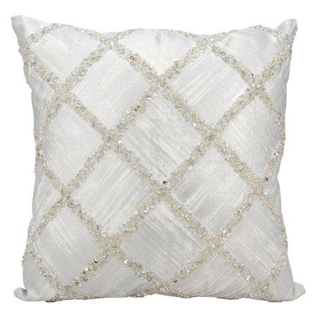 Kathy Ireland Beaded Diamonds Silver Throw Pillow