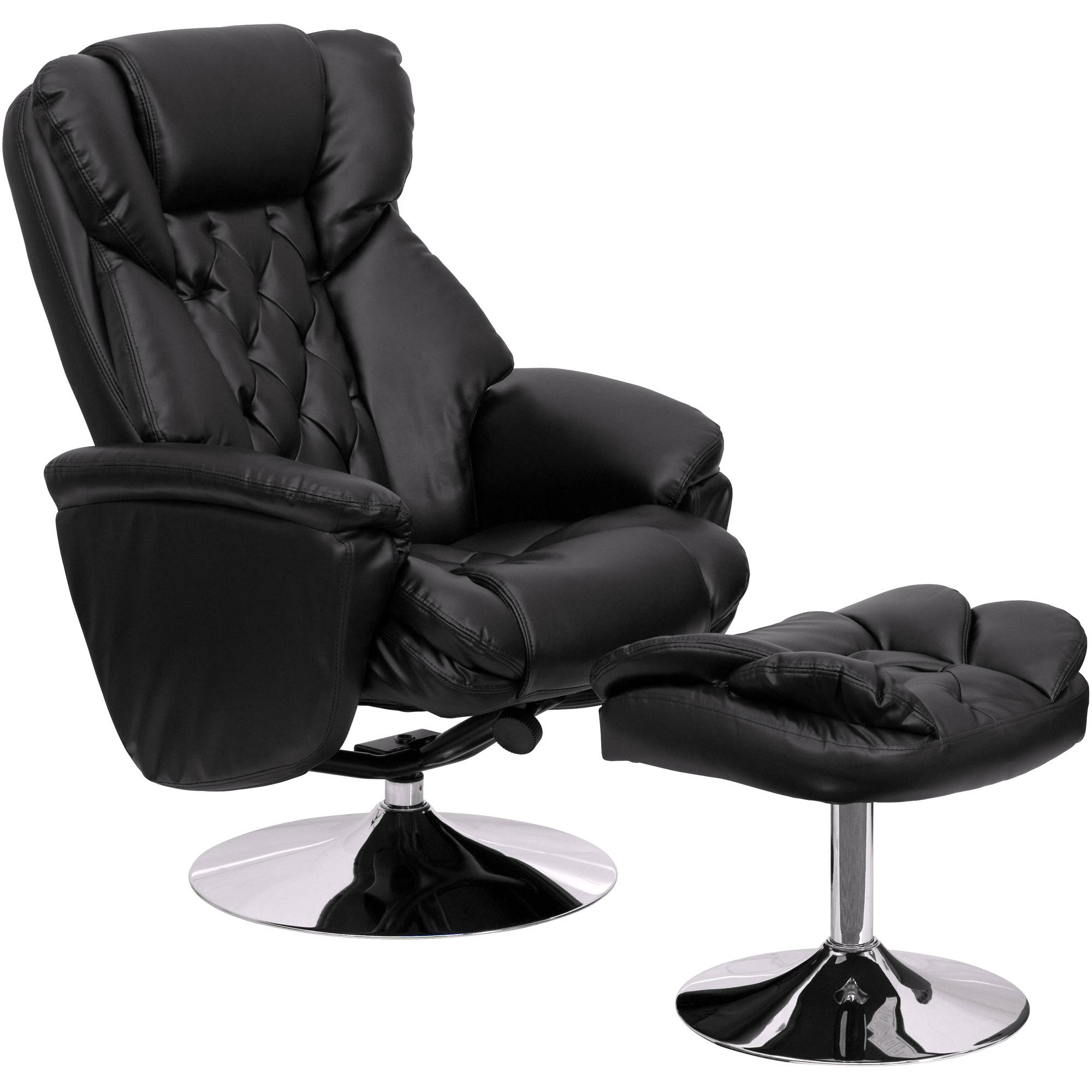 Flash Furniture Transitional Black Leather Recliner And Ottoman With Chrome  Base