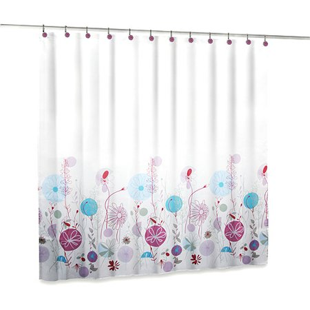 Elite Home Fashions 14 Piece Shower Curtain Tension Rod And Hooks Set Floral