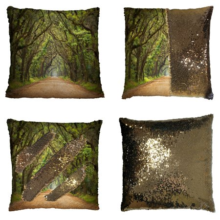 GCKG Forest Way Long Leaves Real Tree Pillowcase, Natural Theme Reversible Mermaid Sequin Pillow Case Home Decor Cushion Cover 16x16 inches - Real Evil Mermaids