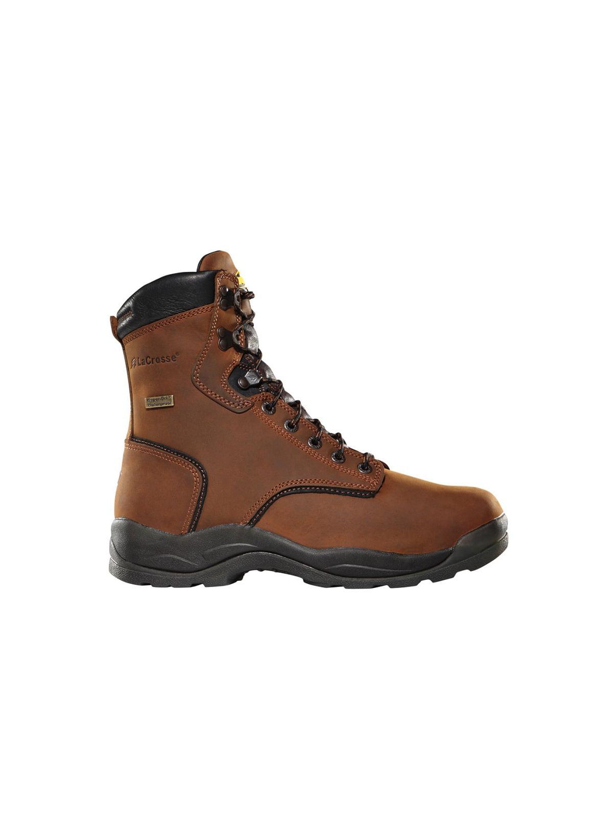 LaCrosse Mens Quad Comfort 4 x 8 Dry Core Brown Work Boots 480001 by LACROSSE