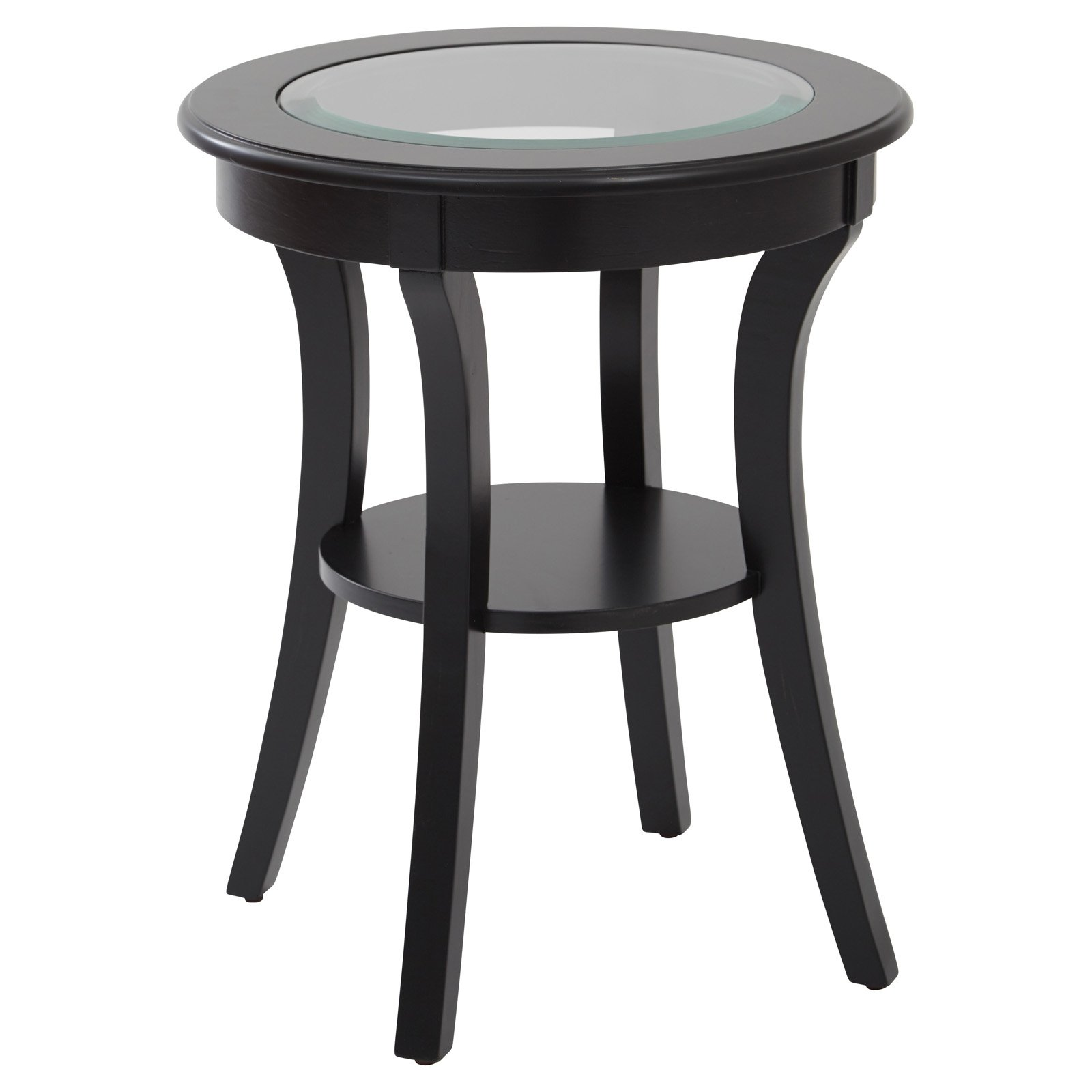 Harper Round Accent Table with Glass top, Ships Fully Assembled