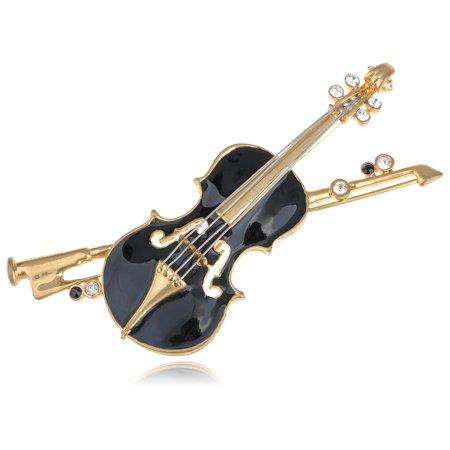Elegant Violin Austrian Crystal Rhinestone Embellish Fashion Jewelry Brooch Pin